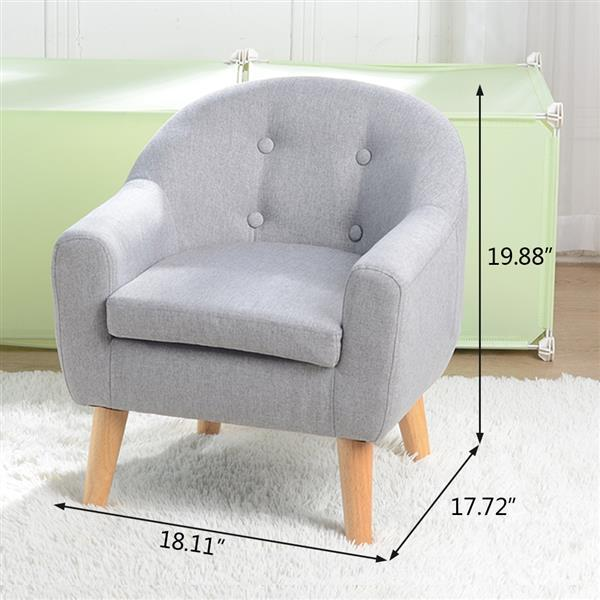 Children's Single Sofa with Sofa Cushion Removable and Washable Linen Gray 2