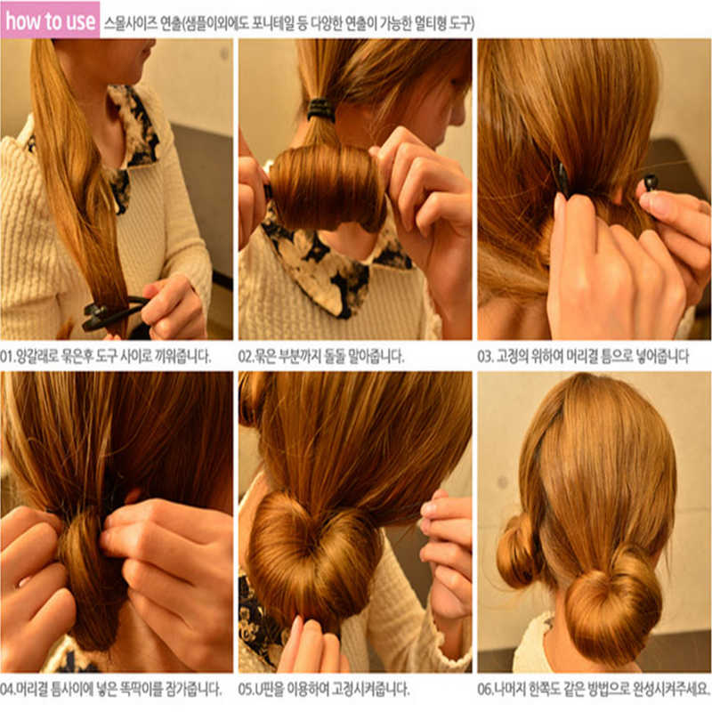 2PCS חדש קסם שיער מהיר יצרנית שיער להקת DIY Donut שיער סטיילינג כלים גומייה לשיער עבור בנות ילדים אבזרים לשיער
