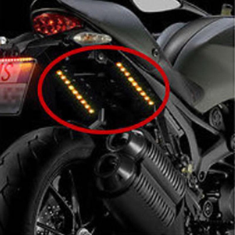 2x Universal Motorcycle 9 LED Turn Signal Indicators Blinker Amber Light Black