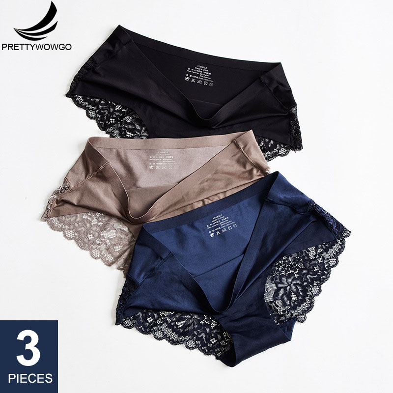 Prettywowgo 3 Pcs/lot Sexy Lace Panties Seamless Women Underwear Briefs Nylon Silk For Ladies Transparent Lingerie XXL 836