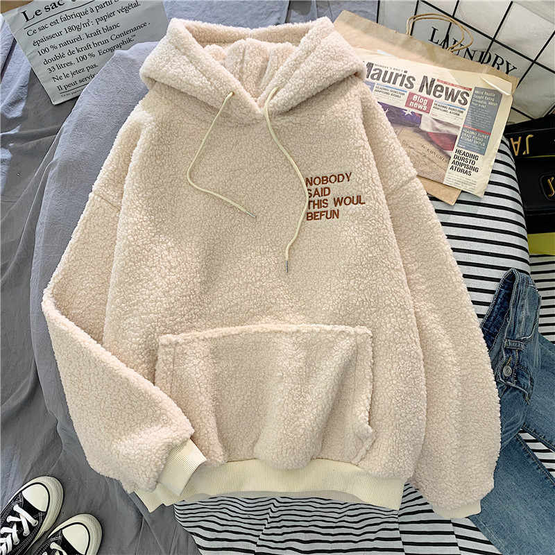 가을 겨울 코트 핑크 스위트 후드 미안 프린트 하라주쿠 루즈 포켓 후드 여성 양털 플란넬 풀오버 여성 운동복
