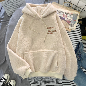 Image 1 - ฤดูใบไม้ร่วงฤดูหนาวสีชมพูSweet Hoodedขอโทษพิมพ์HarajukuหลวมHoodiesสตรีขนแกะFlannel Pulloverหญิงเสื้อกันหนาว