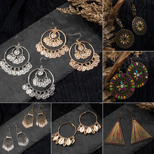 Ethnic Charm Hollow shell Dangle Earring for women Vintage Round Golden & silver Water Drop Tassel Fashion Womens earrings 2019