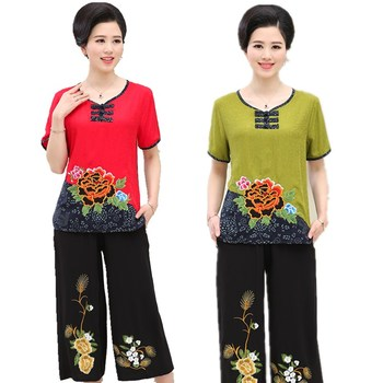 Women Sets 2 Pieces Emulation silk Clothing Set Large Size XL-4XL 2020 Summer Middle aged mother High quality brand Tops+Pants 1