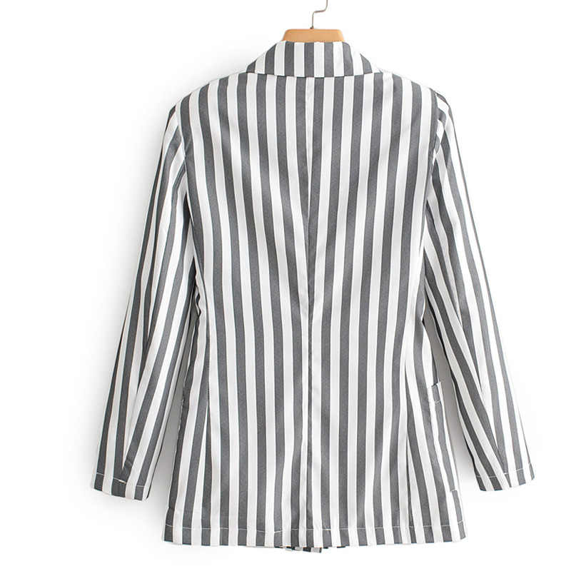 Fandy lokars Blazers estampados a rayas mujeres moda bolsillos chaquetas mujeres elegante manga larga Casual trajes mujer señoras GAC