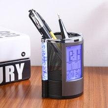 Réveil numérique LCD de bureau, stylo en maille avec règles de stylos, organisateur de bureau