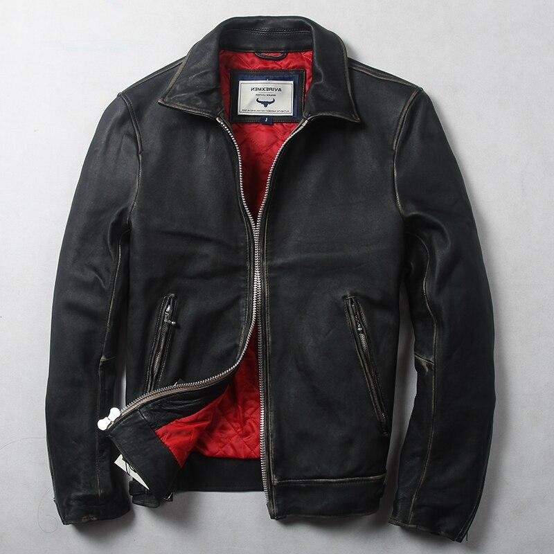 Avirexmen men's vintage genuine fashion slim fit real jacket spring casual leather coat for men