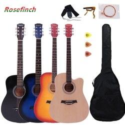 41-дюймовая Акустическая гитара из липы для начинающих, 6 струнных баллад, деревянная гитара для укулеле, акустическая гитара с деревянным/че...