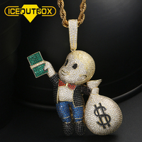 Hip Hop Boy With Money Bag Pendants Micro inlaid Colorful Zircon For Women Men's Fashion Bling AAA CZ Jewelry Gift Drop Shipping