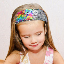 Fashion European And American Style Ladies Hair Band Double-Sided Flip Color Sequins