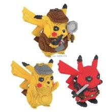 hot LegoINGlys creators marvel Deadpool poke monster Detective Pikachu mini micro diamond building blocks model nano bricks toys