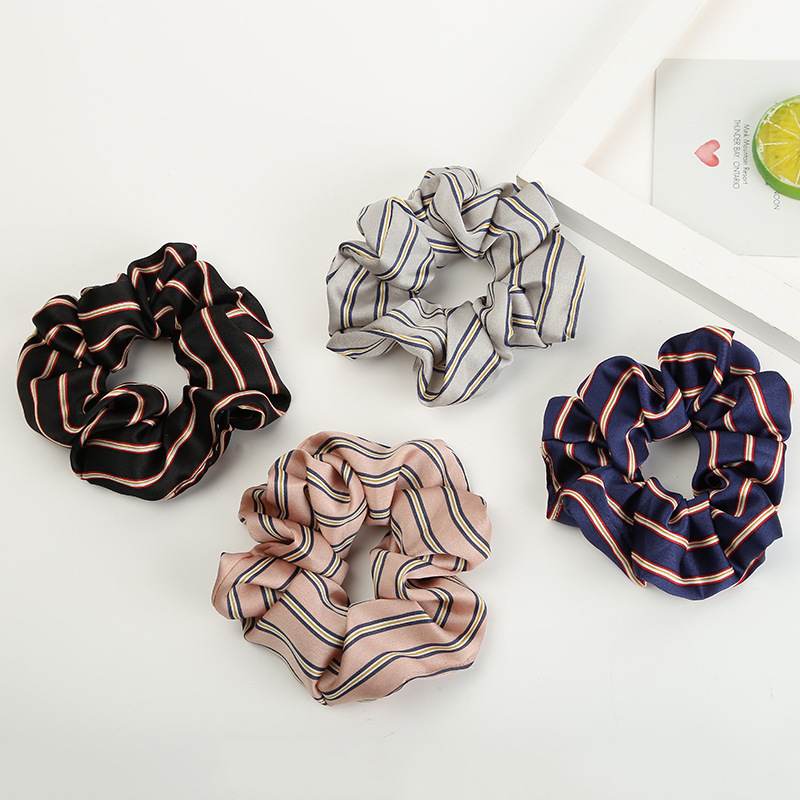2019 Women Chiffon Striped Scrunchies For Ponytail Holder Lady Elastic Wide Rubber Band Girl Hair Rope Hair Tie Hair Accessories