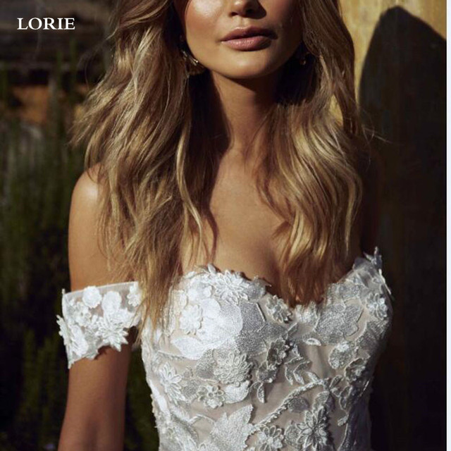 LORIE Boho Wedding Dress off The Shoulder Vintage Lace Appliques Bride Dresses Vestido De Novia Custom Made 4