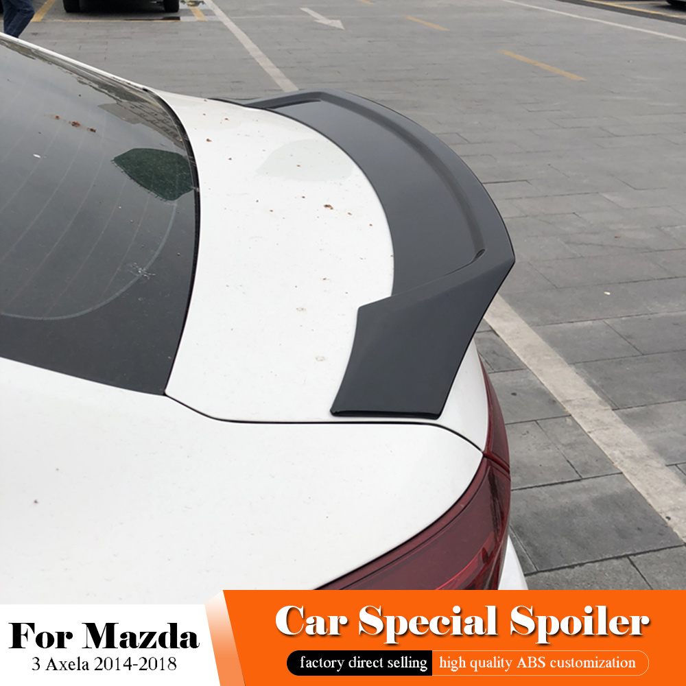 AITWATT Car Black <font><b>Spoiler</b></font> For <font><b>MAZDA</b></font> <font><b>3</b></font> Axela 2014 to <font><b>2018</b></font> High Quality ABS Material Rear Wing Primer Color Rear White <font><b>Spoiler</b></font> image