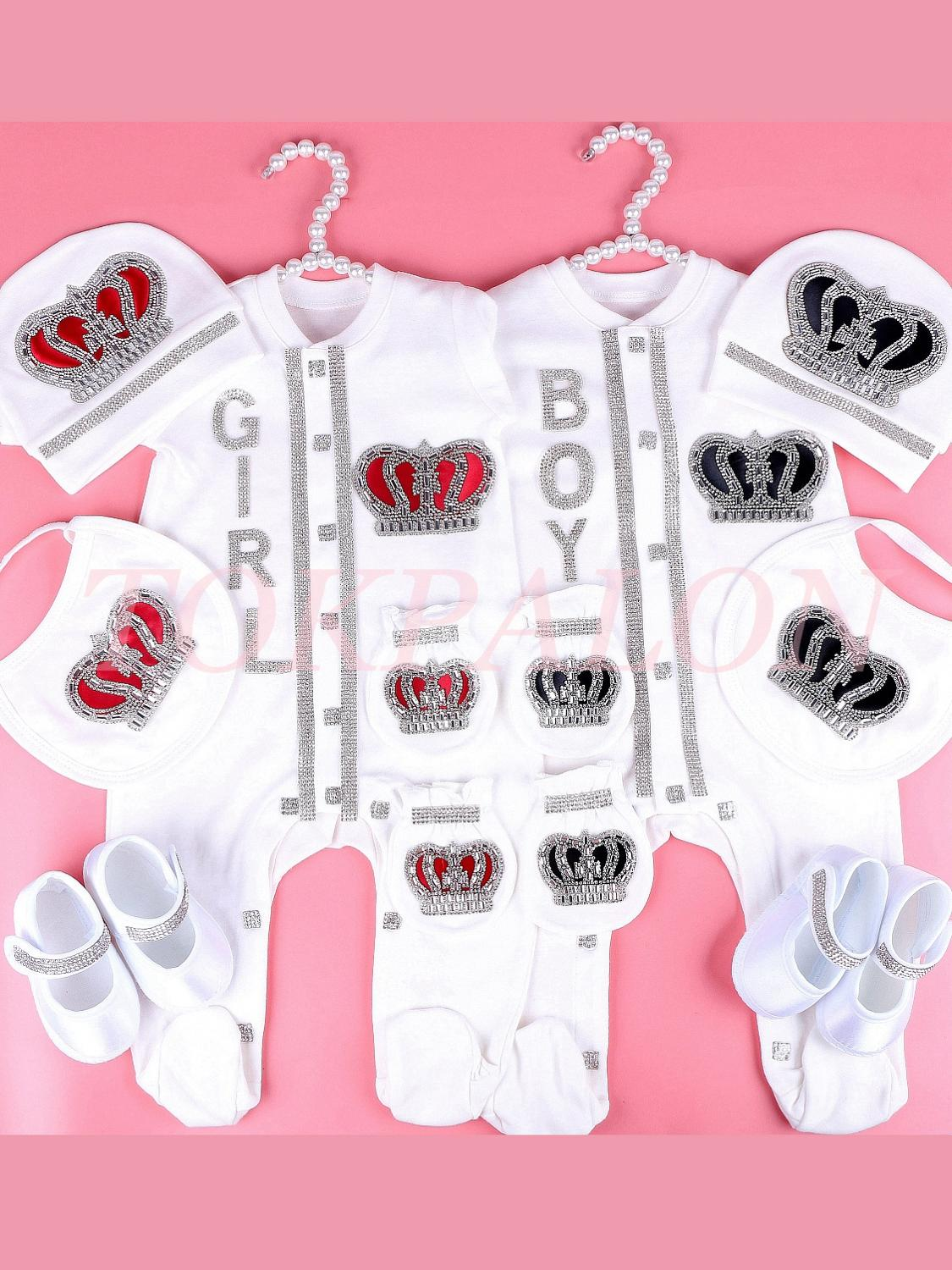 Bodysuit Crown Newbron Baby 0-3-Month Cotton with Rhinestone Crystal Cloth White-Color