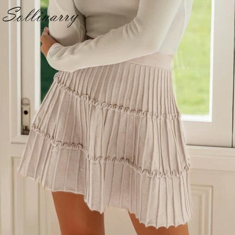 Sollinarry 2019 Knitwear Short Skirts Women Autumn Retro Solid Casual Ruffles Mini Skirts Female High Waist Winter Sexy Skirts-in Skirts from Women's Clothing