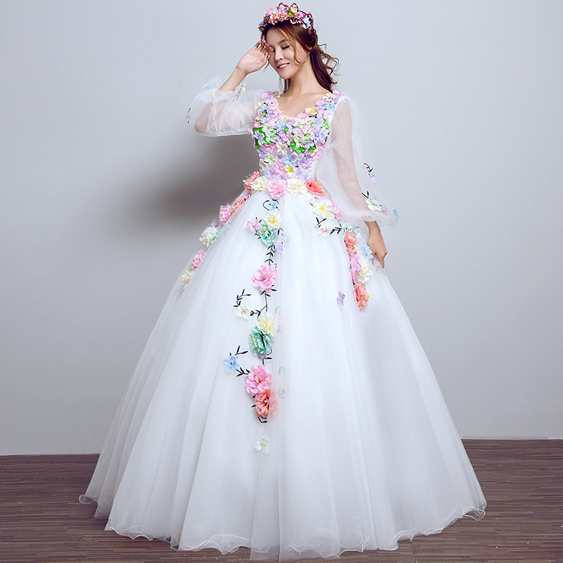 3/4 White Long Sleeve Quinceanera Dresses Vestido 15 Anos Robe De Bal Ball Gown Flower Women Lavendar Color Dress Sweet 16 Dress