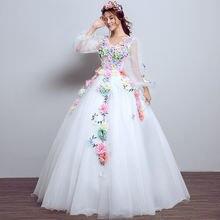 Женское платье с длинным рукавом 3/4 Белое Бальное Платье лавандового