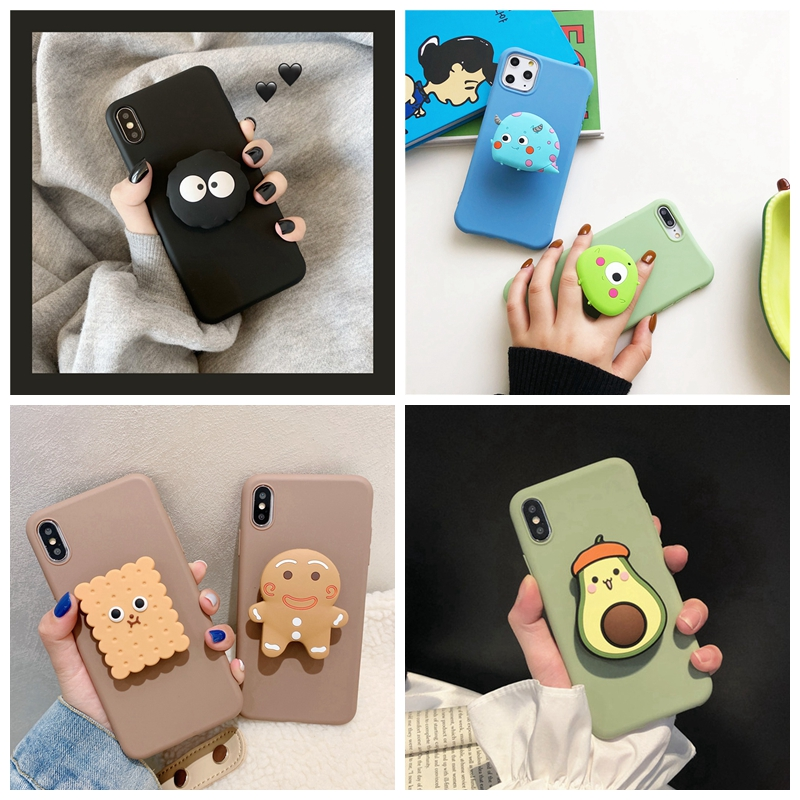 For Samsung A50 A70 A40 A20S A60 A80 A10E For Galaxy M10 M20 M30 Case 3D Cute Cartoon Avocado Flower Foldable Holder Soft Cover