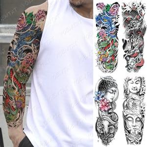 Large Arm Sleeve Tattoo Japanese Traditional Dragon Waterproof Temporary Tatto Sticker Totem Body Art Full Fake Tatoo Women Men