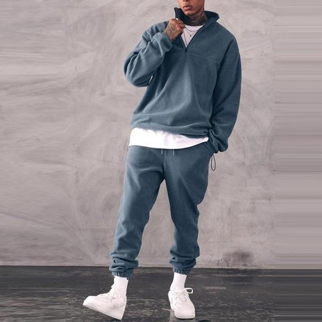 Sweatshirts Set Men Winter Warm Fashion 2021 Men's Jogger Tracksuit Solid Stand Collar Sweatshirt Casual 2 Pieces Sports Suits 1
