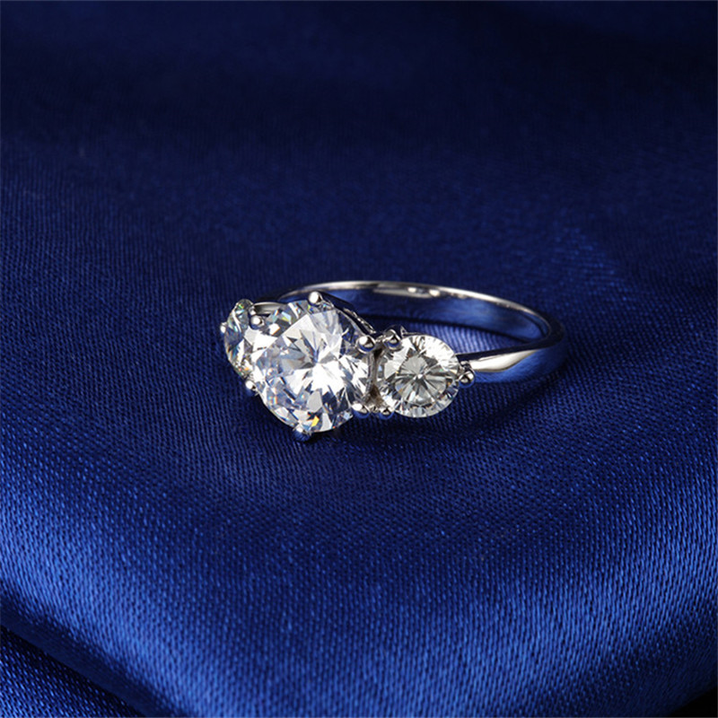 Тест положительное F VS1 Твердое 14 к белое золото 3 кольцо с камнями 3,2 CTTW Moissanite алмазное кольцо для женщин обручальное Золотое Ювелирное кольцо