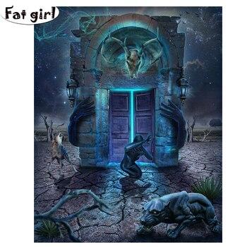 Cuadro de mosaico con bordado Cuadrado y Redondo para mujer con paisaje abstracto de Pantera Negra y puerta del tiempo con pintura de diamantes DIY 5D