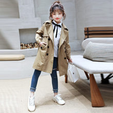 Windbreaker Girls Trench Coats Double Breasted Jackets For Girls Clothing Tops Kids Spring Autumn Outerwear Kids Clothes Jacket