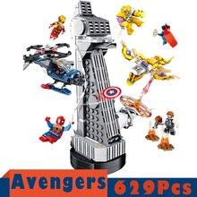 цена на New Super Heroes Blocks MOC Upgraded Version Iron man Fit Marvel Avenger Tower Endgame Building Block Bricks Boy Kid Gift Toys
