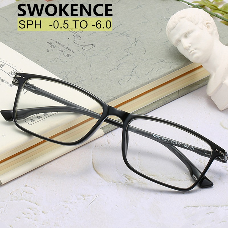 SWOKENCE SPH -0.5 -1 To -4.5 -5 -5.5 -6 Prescription Glasses For Myopia Women Men TR90 Frame Spectacles For Nearsighted F114
