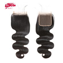 Body Wave 5x5 Transparent Lace Closure Ali Queen Hair Brazilian Human Hair Closure With Baby Hair Virgin Brazilian Hair Closure