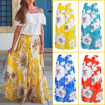 ZOGAA Plus Size Boho Women Summer Floral Print Long Skirt Ladies Fashion High Waist Hot Pleated Beach Casual Chiffon Skirts