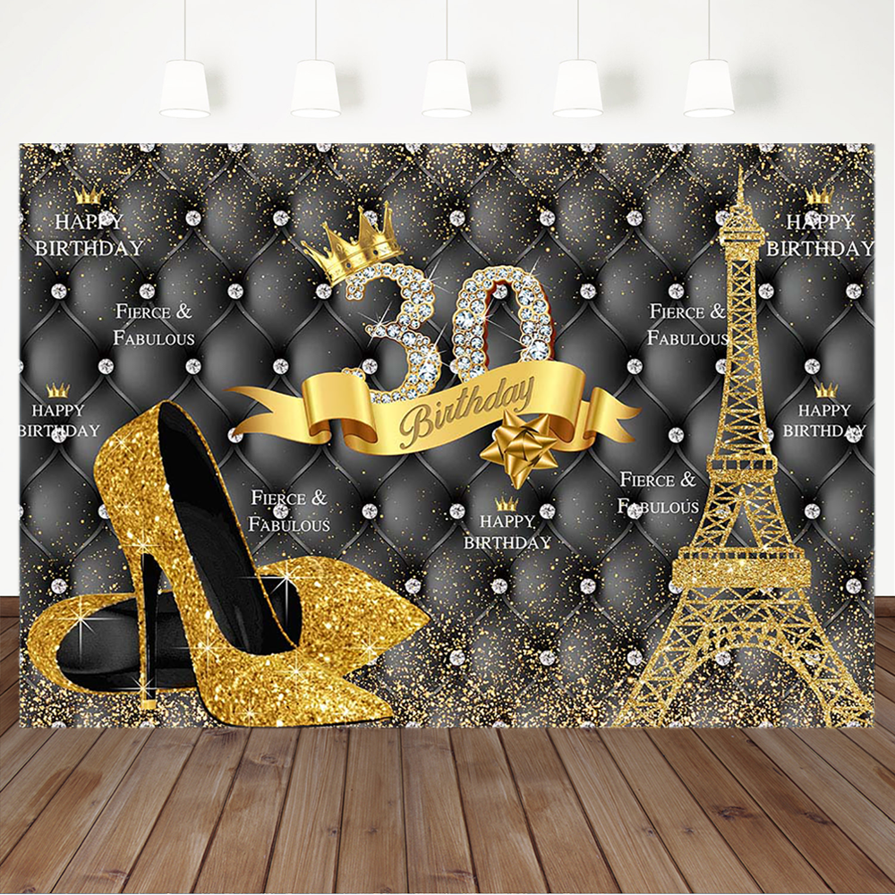 Happy 30th Birthday Backdrop Diamond Golden Flash Eiffel Tower High Heels Ms Thirty Birthday Banner Photography Background