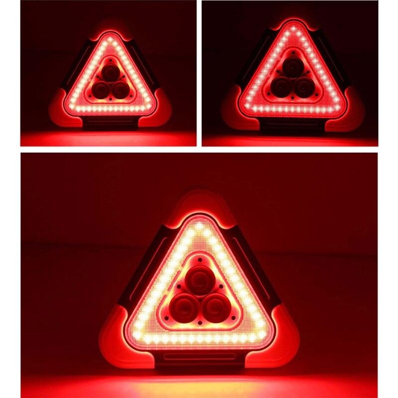 Multi Function Triangle Warning Sign Car LED Work light Road Safety Emergency Breakdown Alarm lamp , Flashing light on