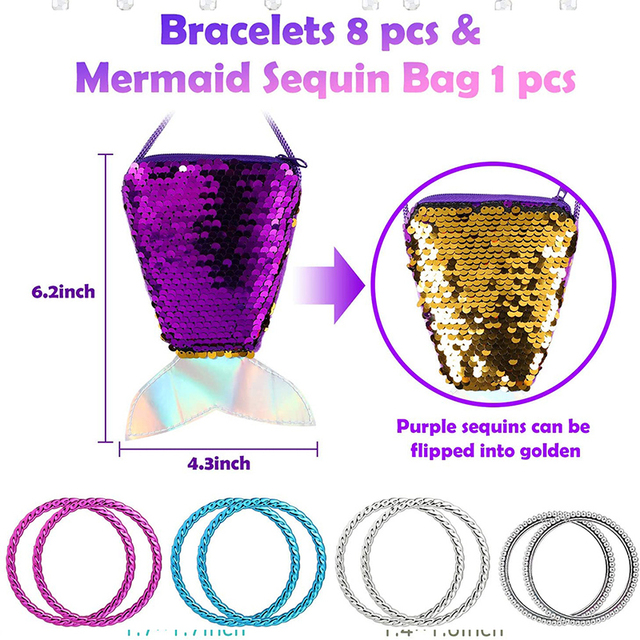 62Pcs Princess Pretend Jewelry Set Decor Princess-Toys Bags Necklace Bracelet Ring Earring Dress Up for Girls Party Supplies 6