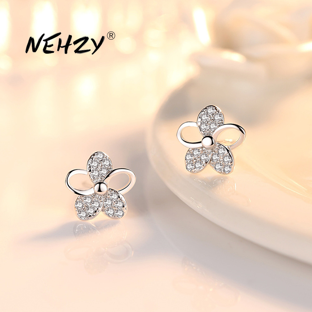 NEHZY 925 Sterling Silver Stud Earrings High Quality Woman Fashion Jewelry Retro Simple Plum Leaf Crystal Zircon Earrings
