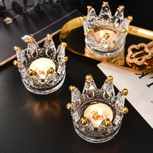 Crystal Tealight Candle Holders Crown Candlestick Mini Ashtray Jewelry Rings Organizer Beauty Egg Tray Wedding Party Decoration