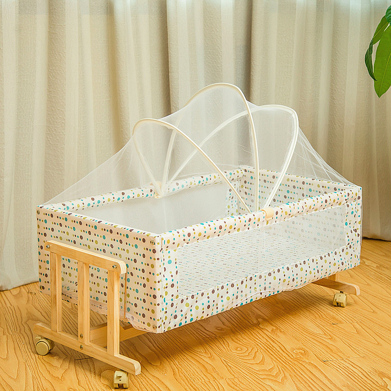Solid Wood Baby Beds Baby Cradle With Mosquito Nets Wheels Movable Baby Crib Wooden Portable Child Babys Newborn Moving Bed Nest