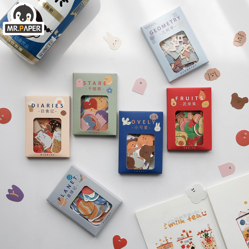 Mr.Paper 100pcs/lot Kawaii Animal Mini Coated Paper Stickers Deco Bag Minimalist Toys Write Down Points Luggage Artsy Style Memo 1