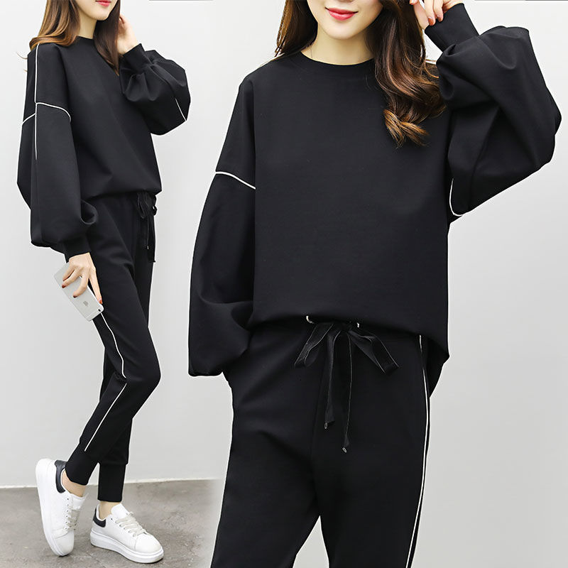 DEAT 2019 Autumn Women Fashion Suits Female Long Flare Sleeve Tops Elastic Waist Pants Casual Loose Outfits Tracksuits MG735 26