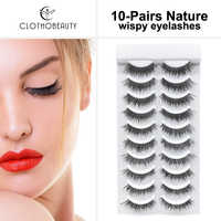CLOTHOBEAUTY 3D mink False Eyelashes 10 Pairs Soft Band Handmade Natural Long Thick Reusable Fake Eyelashes Extension Makeup