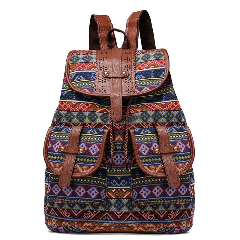 2020 Vintage Embroidery Ethnic Canvas Backpack 2