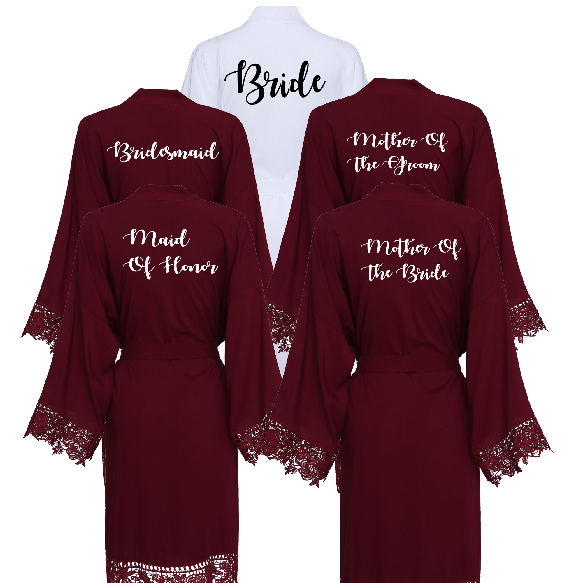YUXINBRIDAL Burgundy Bridesmaid Bride Robes Cotton Kimono Robes With Lace Trim Women Wedding Bridal Robe Short Belt