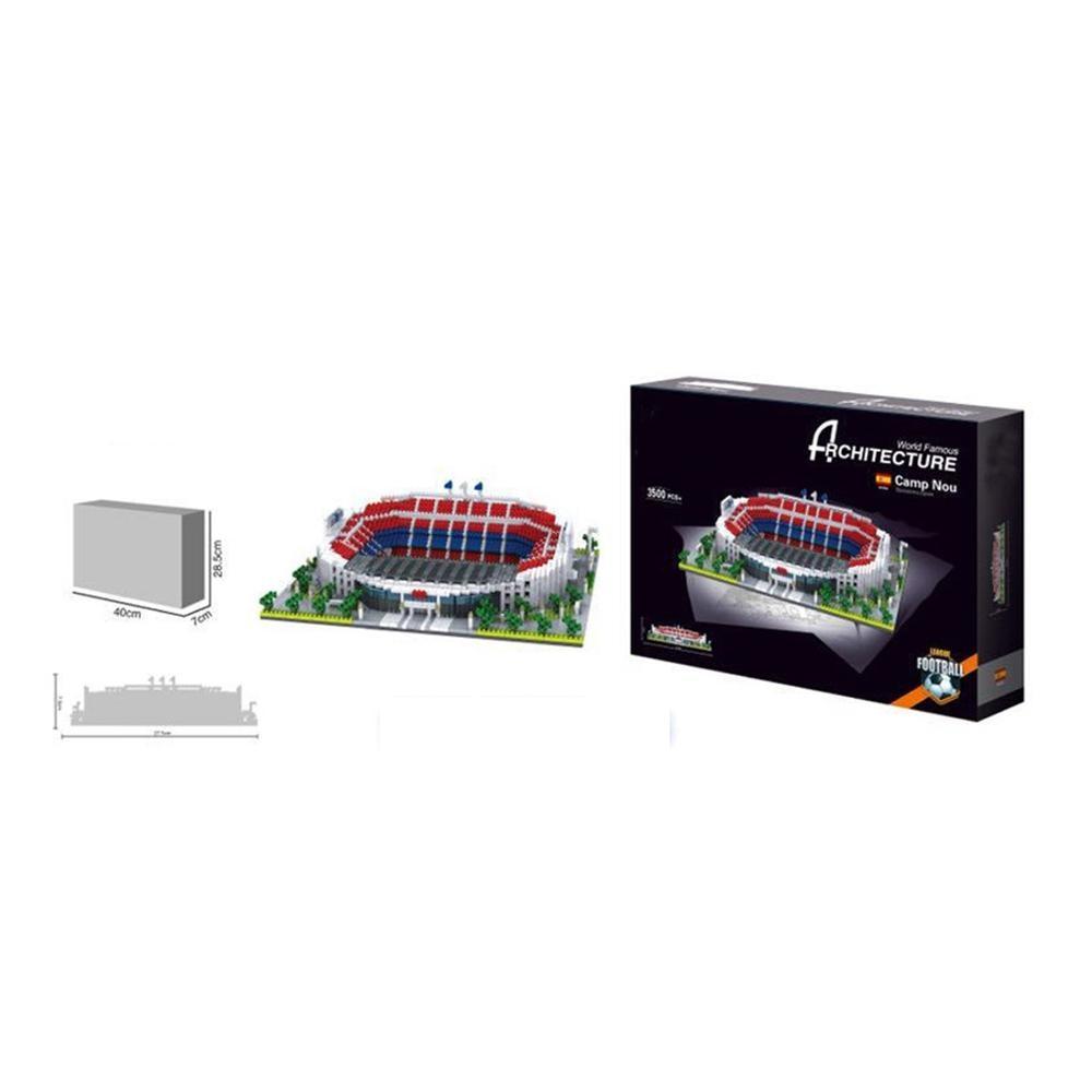 Купить с кэшбэком hot lepining city architecture Street view Spain La Liga football club Barcelona Camp Nou stadium mini micro diamond blocks toys