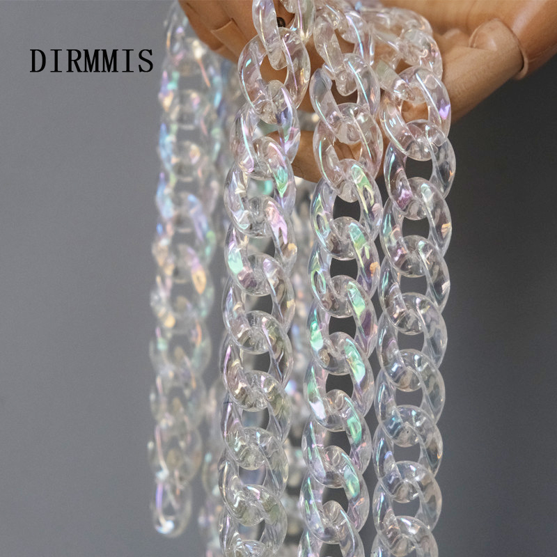 New Fashion Woman Handbag Accessory Parts Chain Light Transparent Acrylic Resin Chain Luxury Strap Women Shoulder Clutch Chain