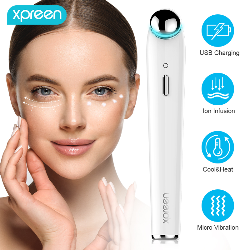 Xpreen USB Rechargeable Eye Massager Electric Cool&Heat Eye Care Massage Vibration Anti Aging Wrinke Dark Circle Beauty Pen