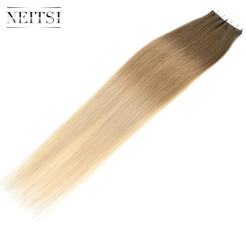 Neitsi Straight Skin Weft Adhesive Hair None Remy Tape In Human Hair Extensions 20 50cm Double Side Tape Ombre Color T8/27/60 neitsi straight skin weft adhesive hair non remy tape in human hair extensions 16 20 24 double side tape