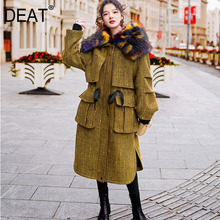 Warm Coat DEAT Hooded Pocket Drawstring Winter Fashion NEW Fur Full Spliced Patchwrok