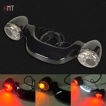 Smoke Lens Motorcycle LED Rear Turn Signal Brake Light Bar Case for Harley Touring Street Road Glide 2010-2018 11 12 13 14 15 16