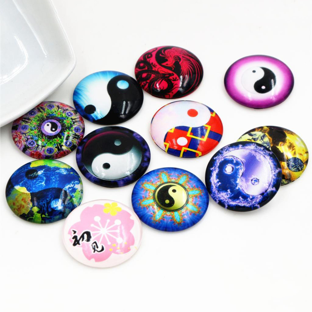 Hot Sale 10pcs 25mm New Fashion Mixed Handmade Glass Cabochons Pattern Domed Jewelry Accessories Supplies-F2-65